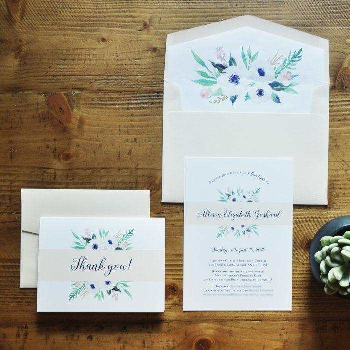 Amanda DiMinico Design - Floral Baptism Invitation Suite